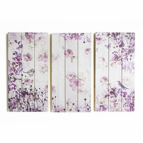 S and 3 Birds And Butterflies Print On Wood Wall Art, , large