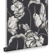 Harem Tulips Grey Wallpaper, , large