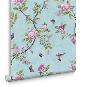 Chinoiserie Duck Egg Wallpaper, , large