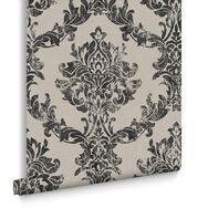 Opal Damask Charcoal & Gold Behang, , large