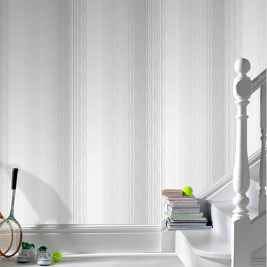 Chambray Stripe Soft Grey Wallpaper, , large