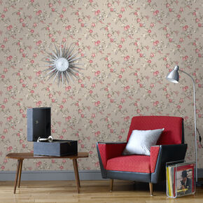 Rose Cottage Taupe and Raspberry Wallpaper, , large