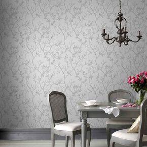 Laos Trail White & Silver Wallpaper, , large