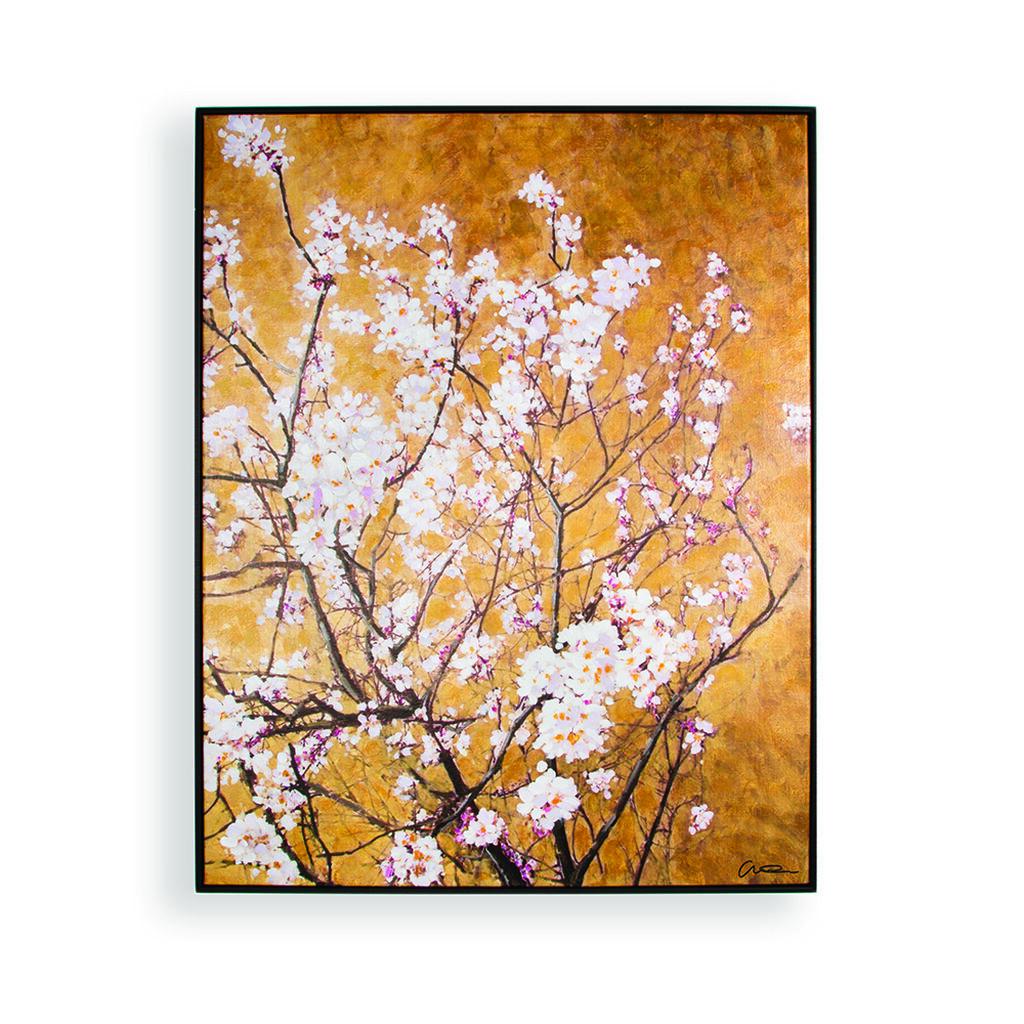 Oriental blossom hand painted framed canvas grahambrownuk for Orange wall art