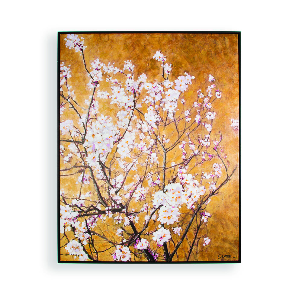 Oriental Blossom Hand Painted Framed Canvas Wall Art , ...