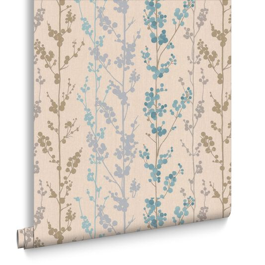 berries teal gold and silver wallpaper graham amp brown