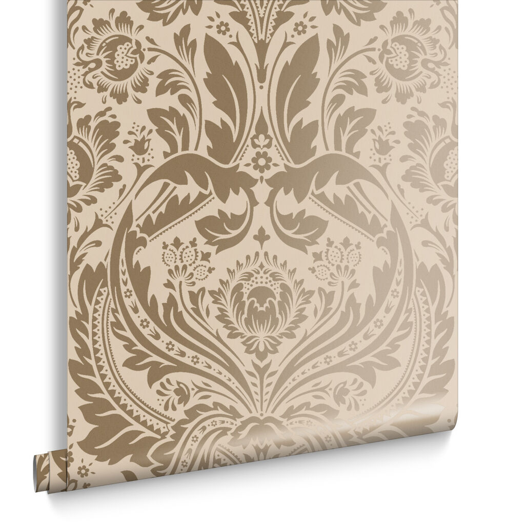 Desire Taupe and Metallic Wallpaper | Graham & Brown