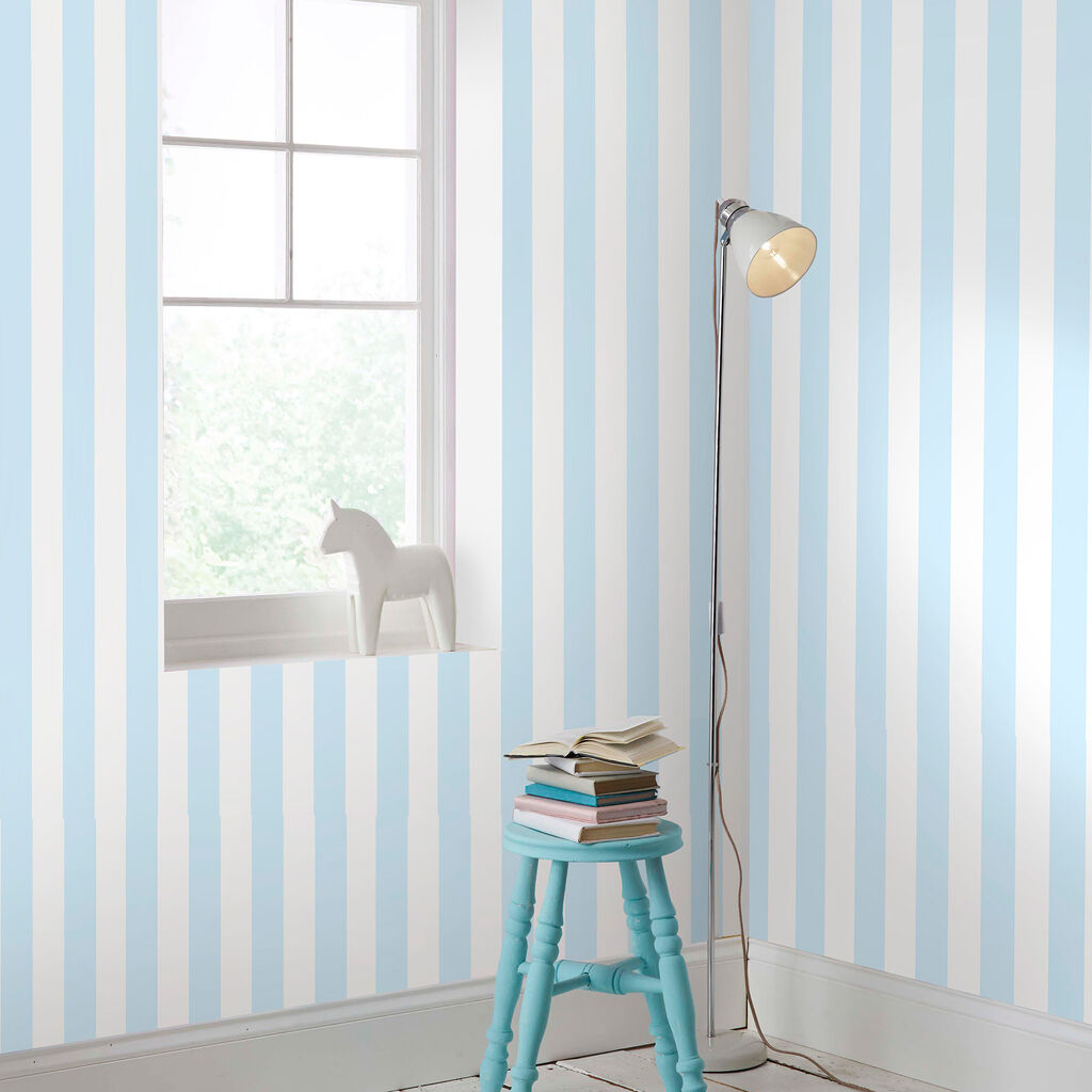 Blue And Brown Striped Bedroom pastel blue stripe wallpaper | graham & brown