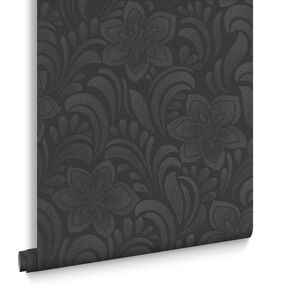 Jacquard Floral Charcoal Wallpaper, , large