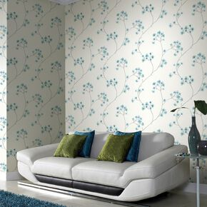 Radiance Teal and White Wallpaper, , large