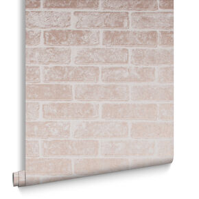 Metallic Brick Rose Gold White Behang, , large