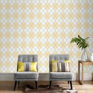 Argyle Ochre Wallpaper, , large