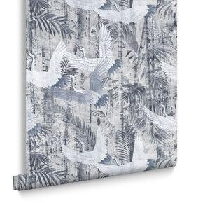 Crane Blue Behang, , large