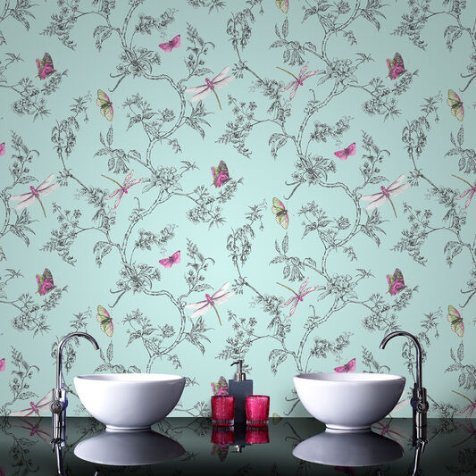 Nature trail duck egg wallpaper grahambrownuk - Butterfly wallpaper homebase ...