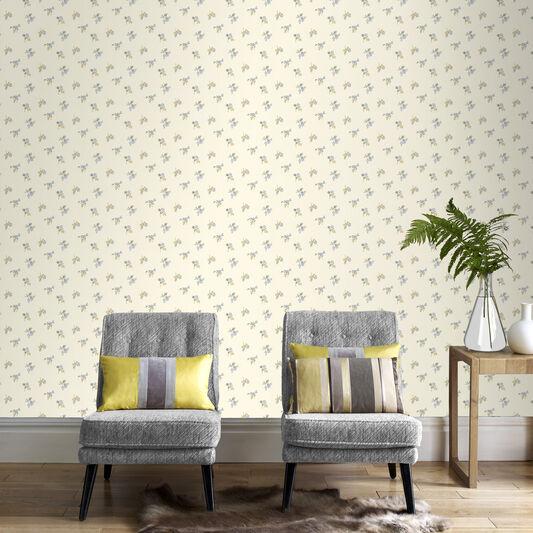 Rosebud Buttermilk and Blue Wallpaper, , large