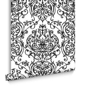 Empress Damask Black & White Wallpaper, , large