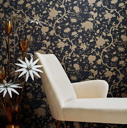 Botanic Charcoal and Gold Wallpaper, , large