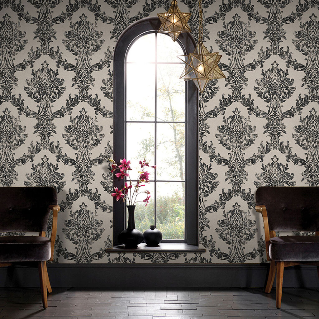 opal damask charcoal and gold wallpaper
