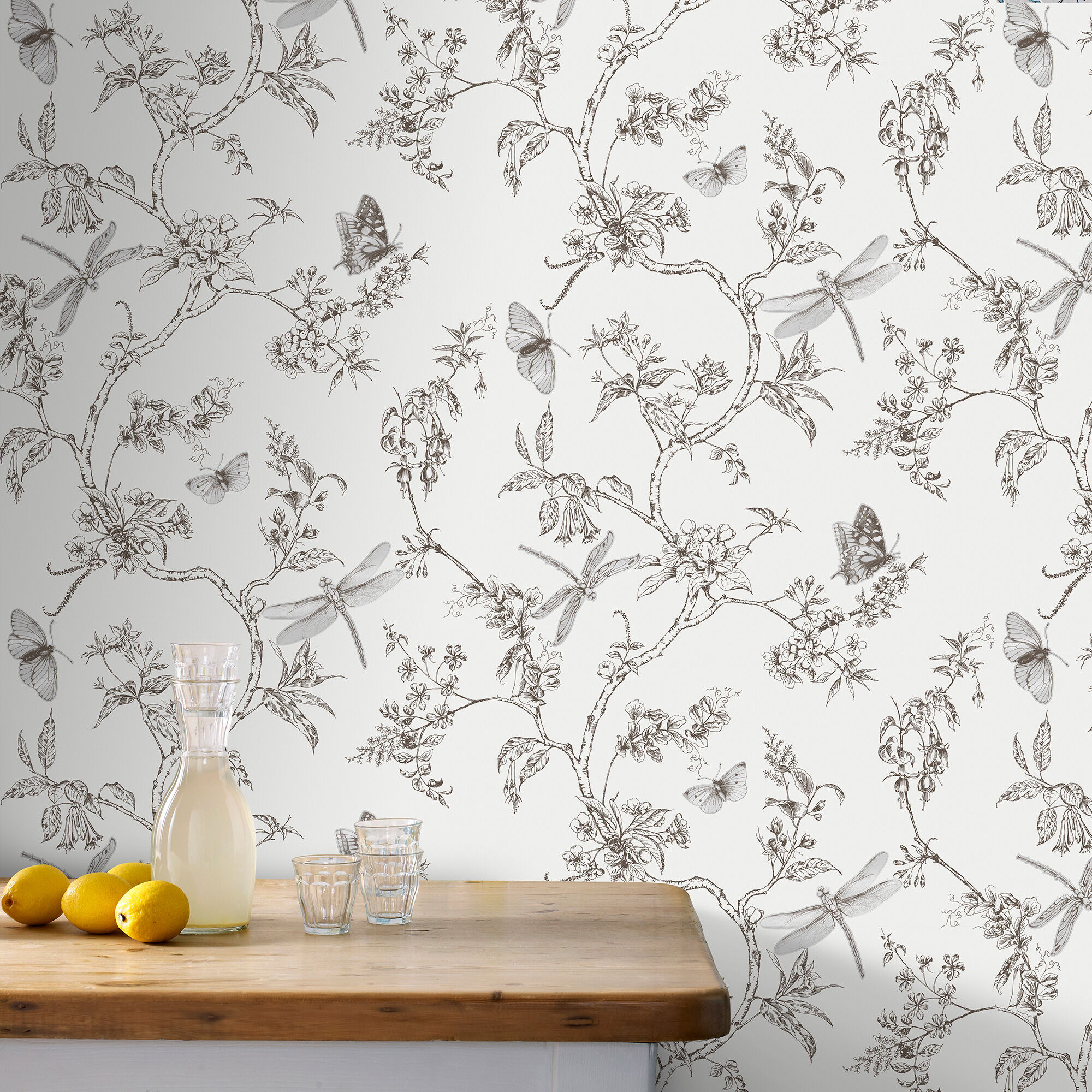... Large Nature Trail White Mica Wallpaper, ...