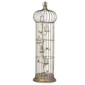 Golden Birdcage Candle Holder, , large