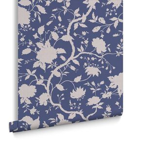 Botanic Prussian Blue Wallpaper, , large