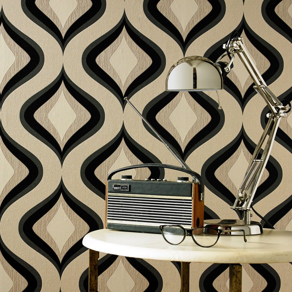 Trippy charcoal wallpaper graham brown - Papier peint graham brown ...
