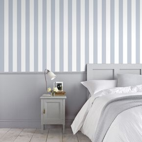 Helen Glitter Stripe Lilac & White Wallpaper, , large