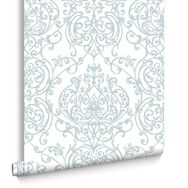 Empress Damask Duck Egg & White Wallpaper, , large