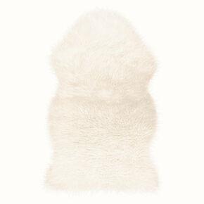 White Faux Fur Rug, , large