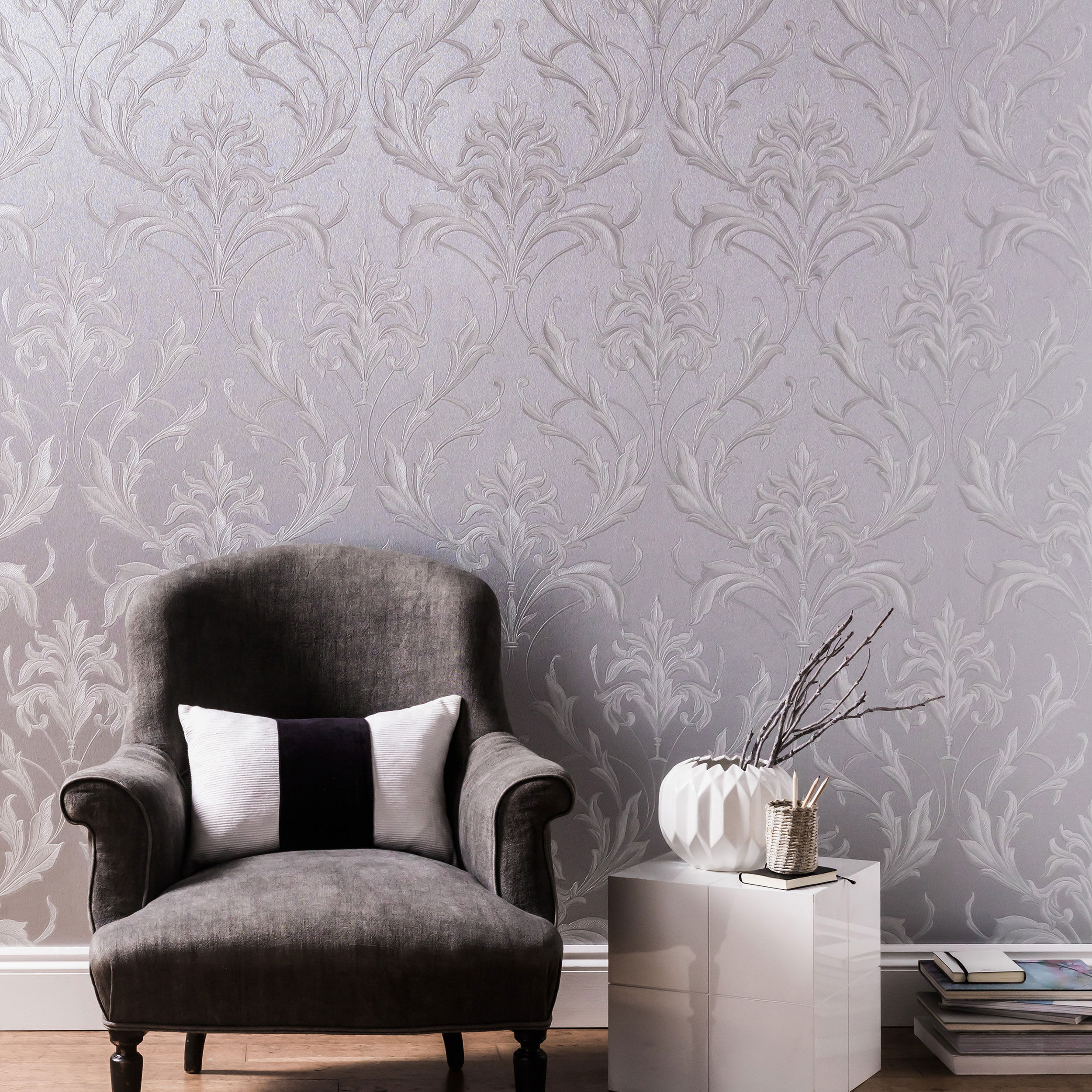 Oxford Silver and Grey Wallpaper - GrahamBrownUK