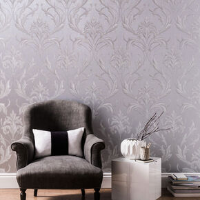 Large Oxford Silver And Grey Wallpaper