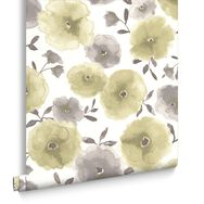 Poppies Green Wallpaper, , large