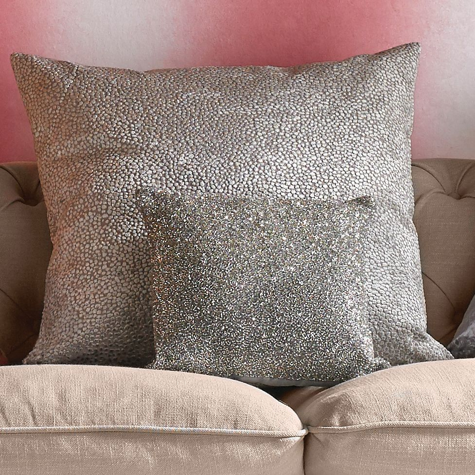 glimmerous silver beaded cushion
