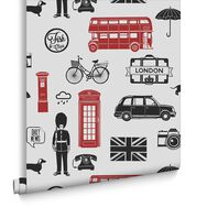 London Red Wallpaper, , large