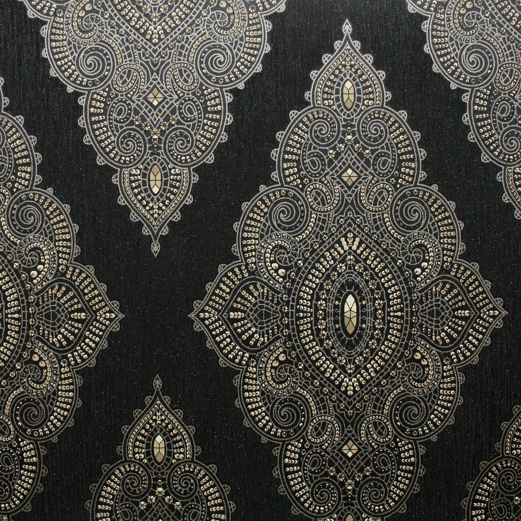 Jewel Black And Gold Wallpaper Graham Brown