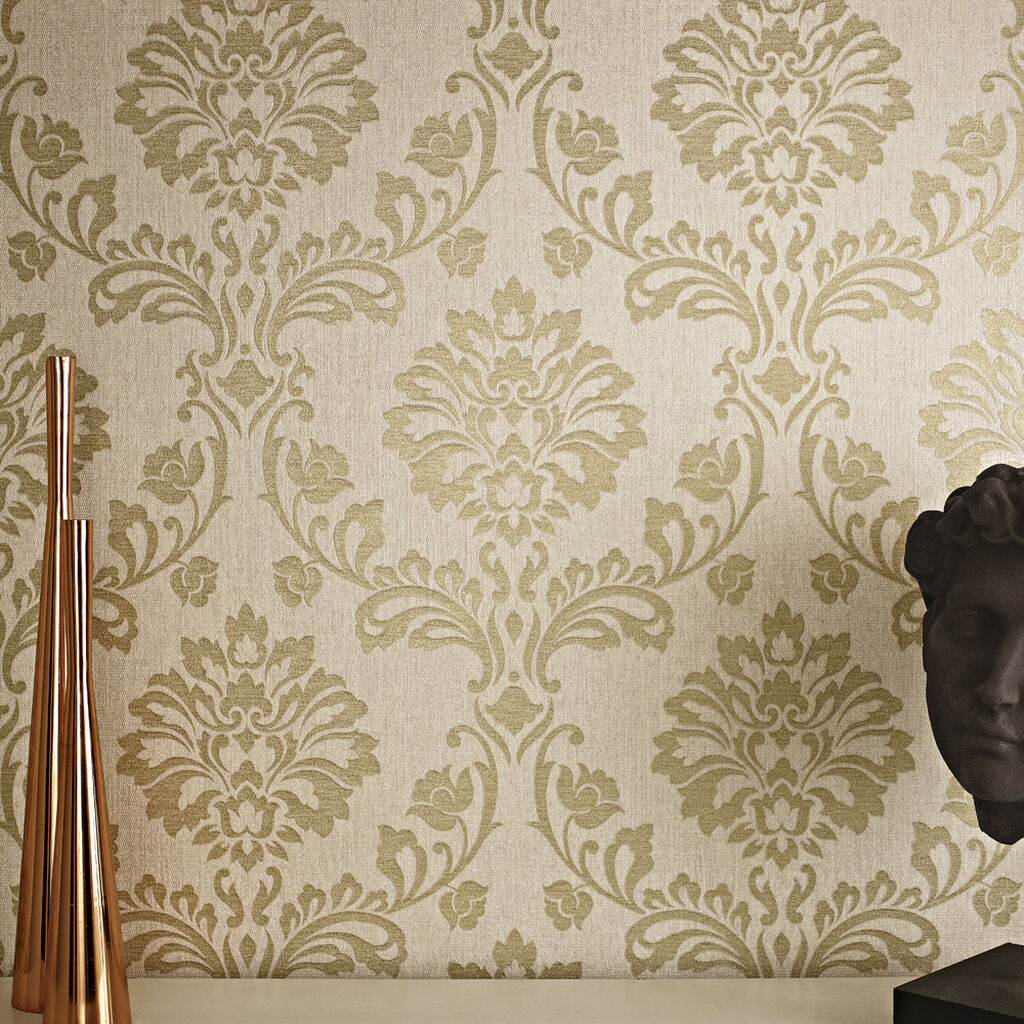 Aurora beige and gold wallpaper gold damask wallpaper for Designer wallpaper uk