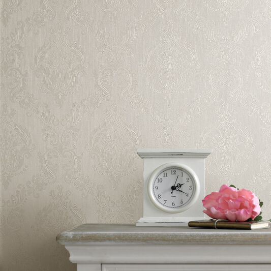 Damask cream shimmer wallpaper graham brown - Tapisserie graham brown ...