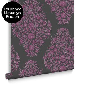 Floribunda Fuchsia and Charcoal Wallpaper, , large