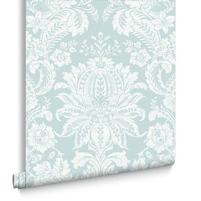 Venetian Damask Blue Wallpaper, , large