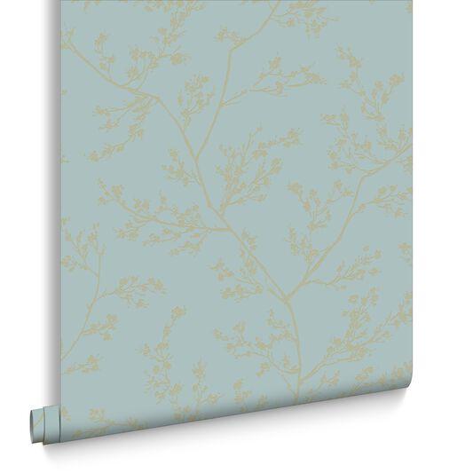 Springtime Aqua and Gold Wallpaper, , large
