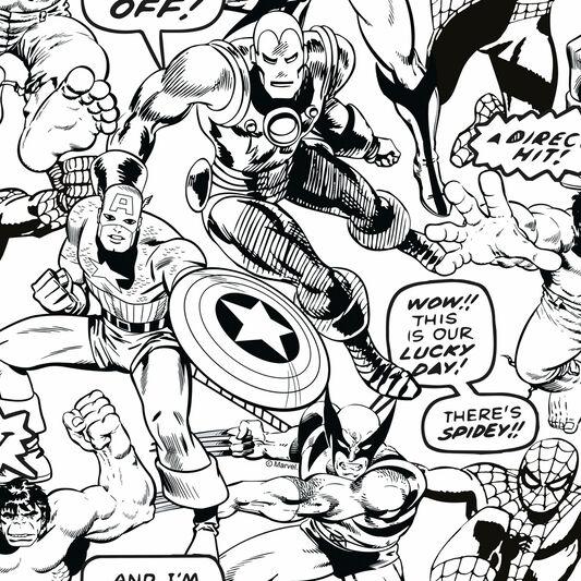 marvel comics superheroes colour your own wallpaper