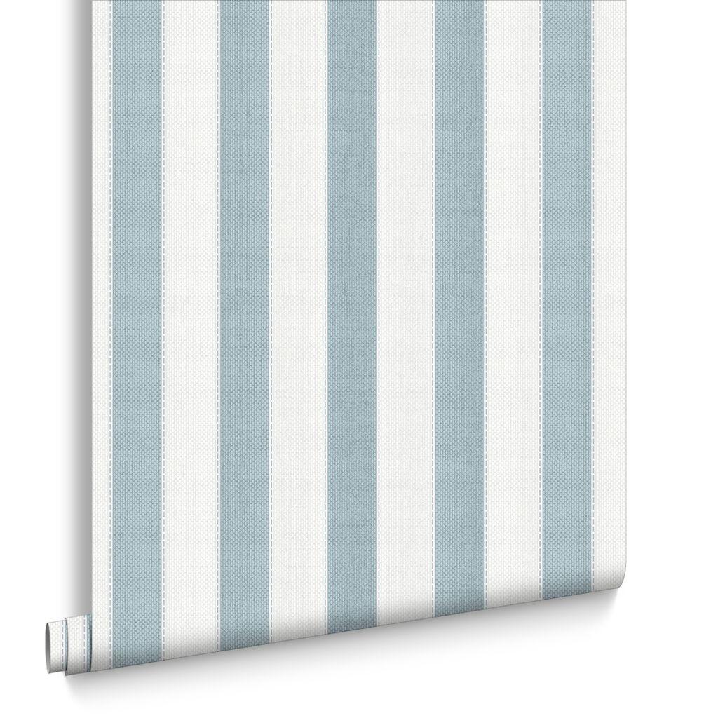 Gray and white striped wallpaper - Ticking Stripe Skye Blue Wallpaper
