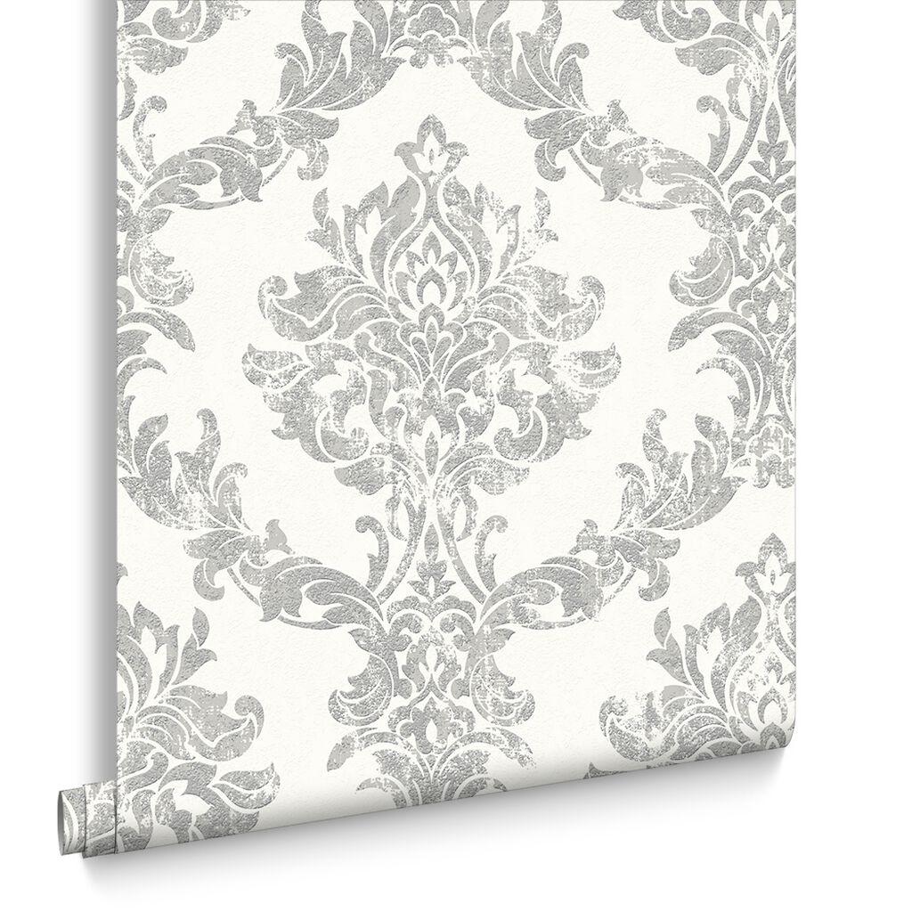 opal damask white and silver wallpaper graham brown. Black Bedroom Furniture Sets. Home Design Ideas