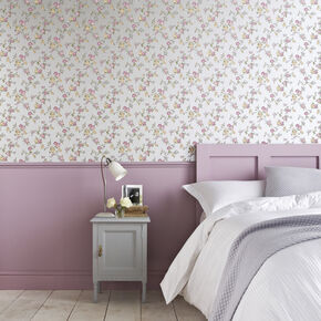 Rose Cottage Silver and Heather Wallpaper, , large