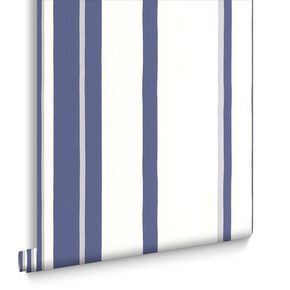 Hoppen Stripe White and Prussian Blue Wallpaper, , large