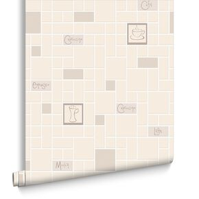 Cafe Culture Beige Wallpaper, , large