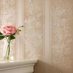 Floral Stripe Golden Wallpaper, , large
