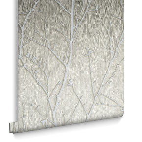 Water Silk Sprig Taupe Wallpaper, , large