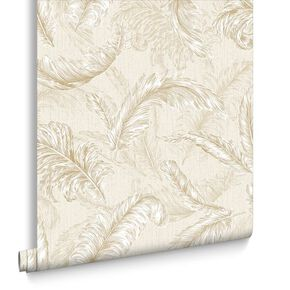 Gilded Feather Cream and Gold Wallpaper, , large