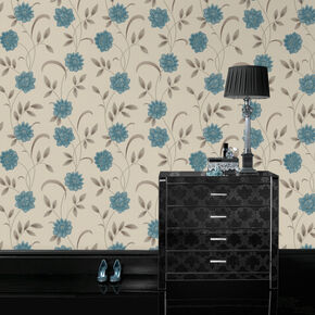 Sadie Teal and Cream Wallpaper, , large